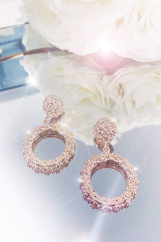 Glazori Cynthia Textured Rose Gold Circle Drop Earrings