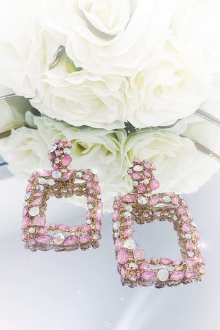 Glazori Jada Gold Statement Earrings with Pink & Aurora Crystals