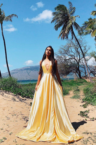A&N Luxe Amani - Yellow Satin A-Line Gown with Side Slit and Low Back