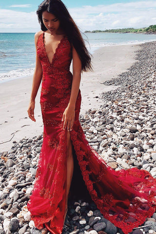 A&N Luxe Cherie - Deep Red Beaded Gown with Plunge Neck & Side Slit