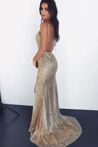A&N Luxe Evaliah - Gold Glitter Gown with Side Slit & Low Back