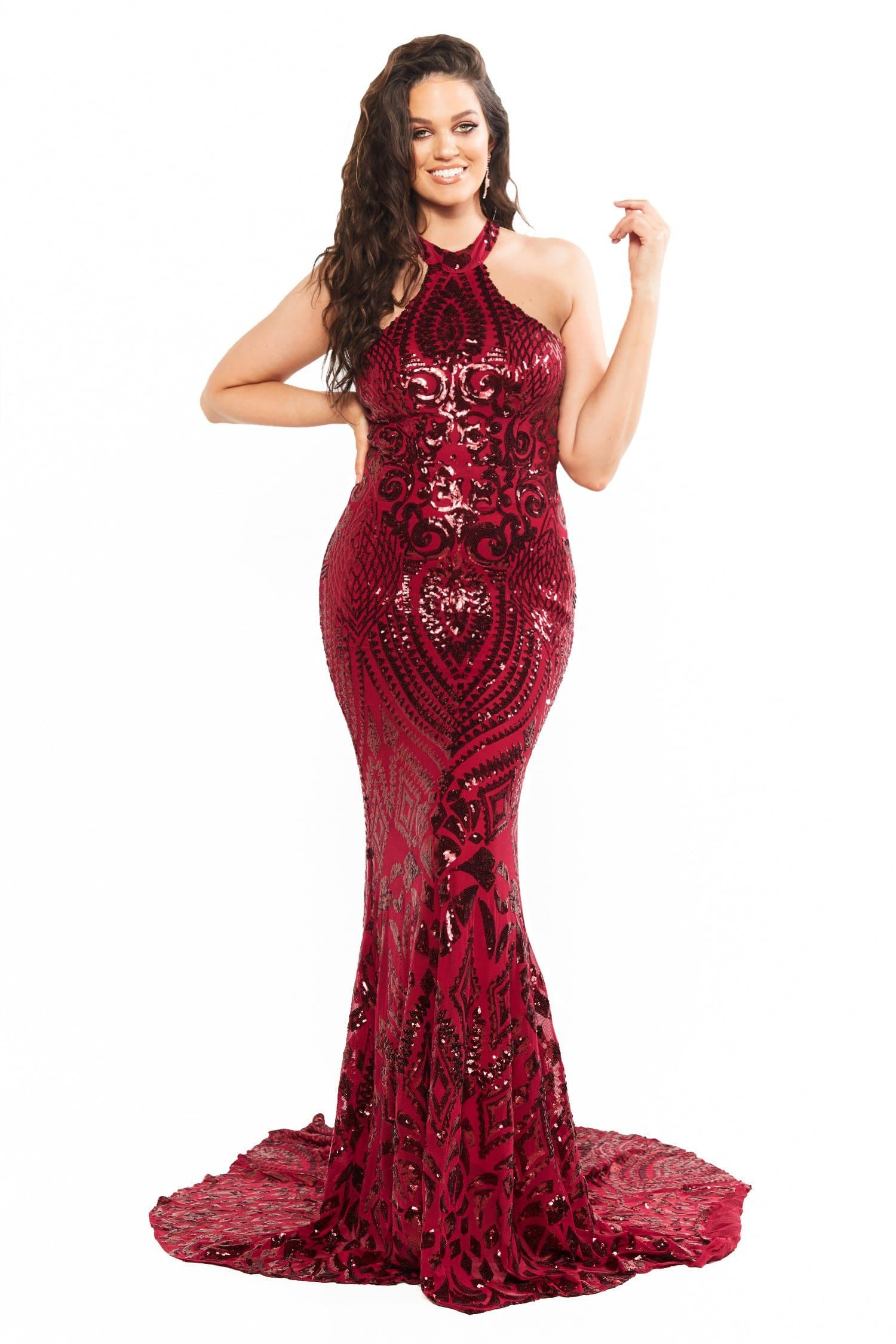A&N Curve Fabiana -  Burgundy Sequin Mermaid Gown with High Neckline