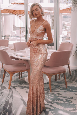 Farah - Rose Pink Sequins Gown with Scoop Back