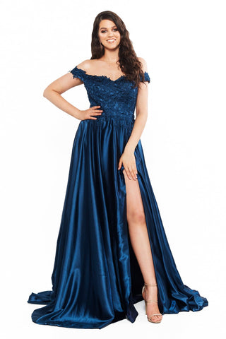 A&N Curve Freya Lace Off-Shoulder Satin Gown with Slit - Navy