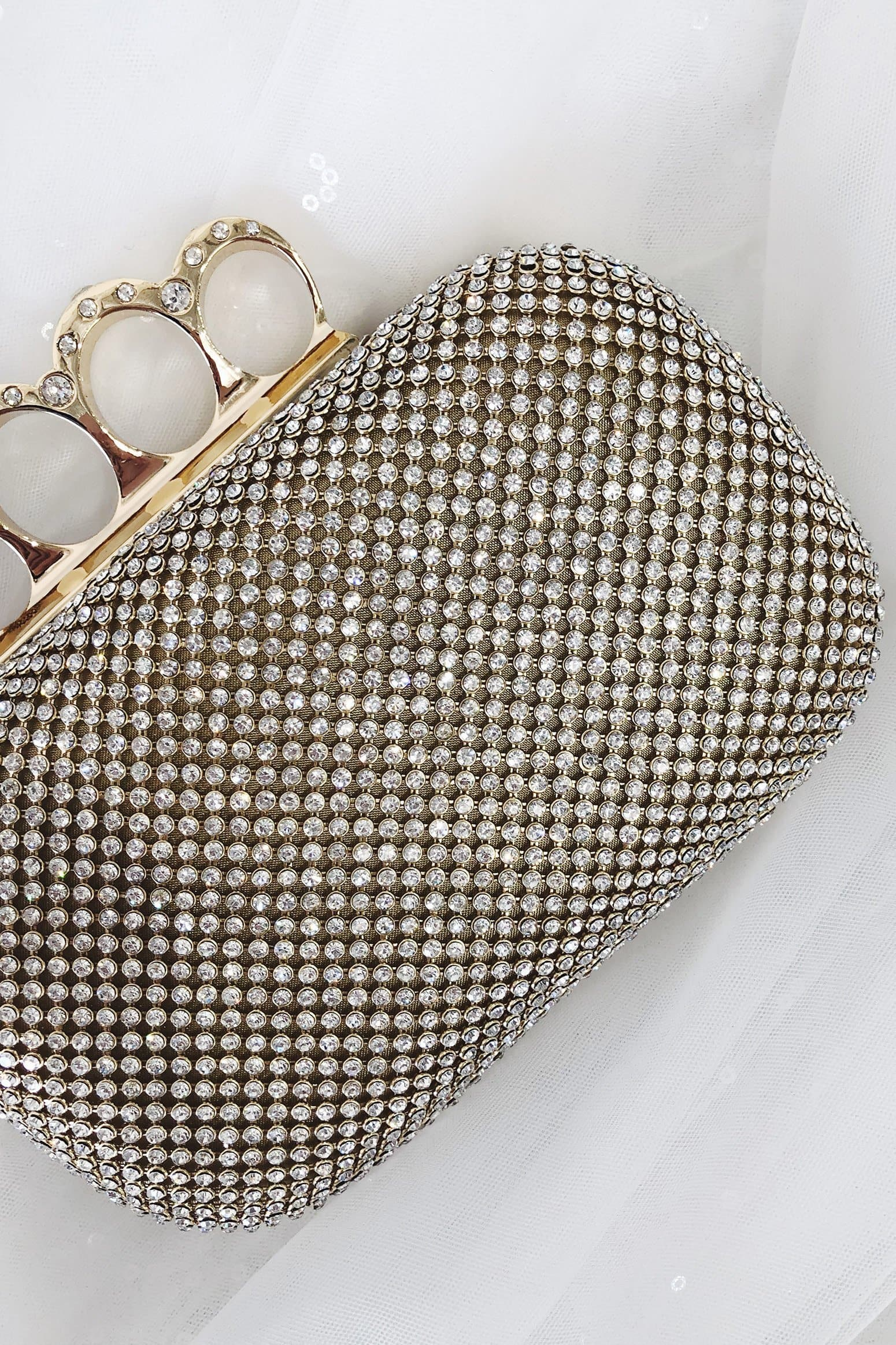 Glazori Londyn Clutch - Gold Diamante Statement Clutch
