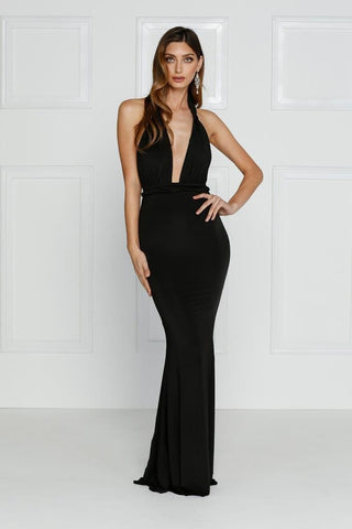Florencia - Black Multiway Jersey Gown with Plunge Neckline & Low Back
