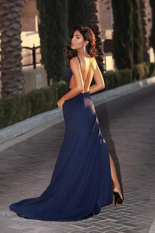 A&N Luxe April - Navy Low Back Ponti Gown with Slit
