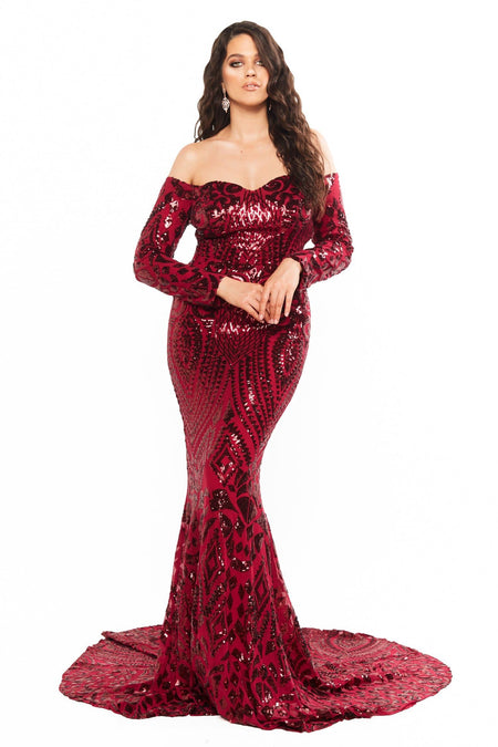 A&N Elyse Cocktail Dress - Burgundy
