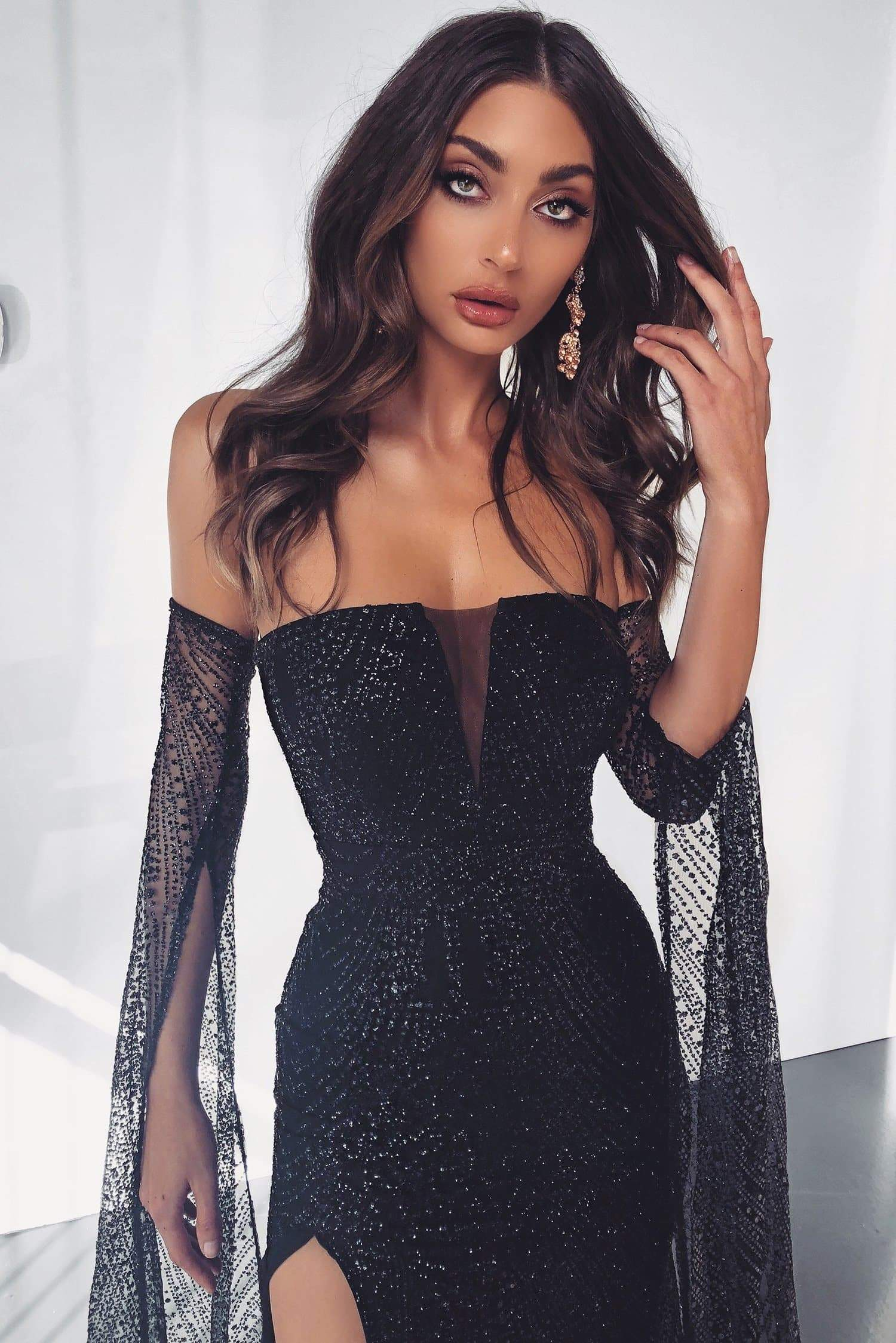 ad88929bc2d Jocelina - Black Glitter Gown with Long Sheer Sleeves and Side Slit ...