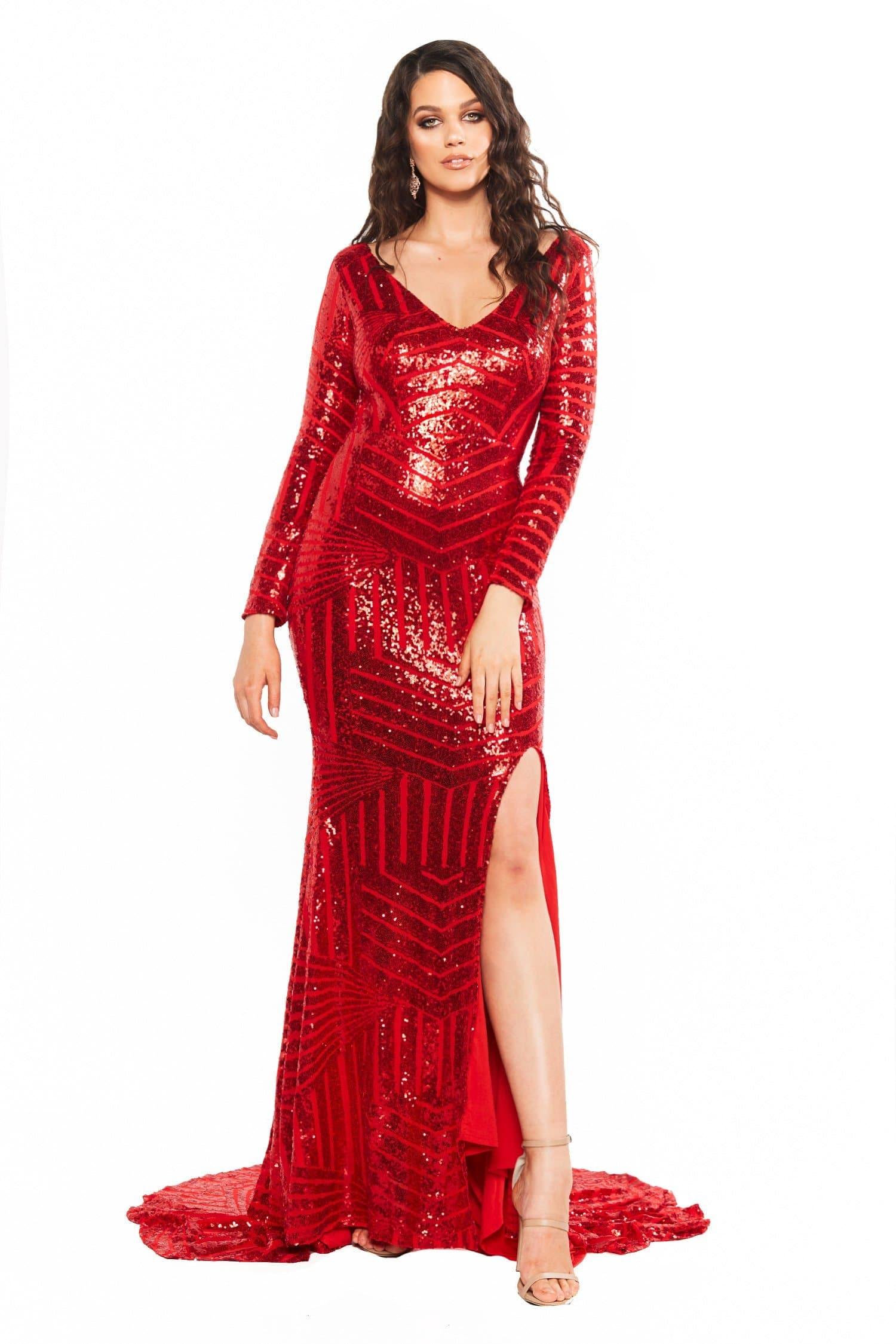 441e1c5bbb0 A N Curve Kaya - Red Sequin Dress with Long Sleeves   Side Slit ...