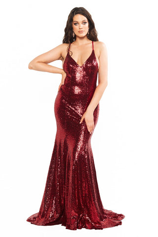 A&N Curve Kendall - Deep Red Sequin Gown with V-Neck and Lace-Up Back
