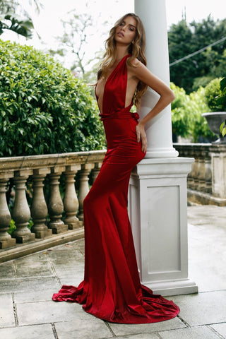 Lena - Wine Red Multiway Satin Gown with Plunge Neck & Mermaid Train