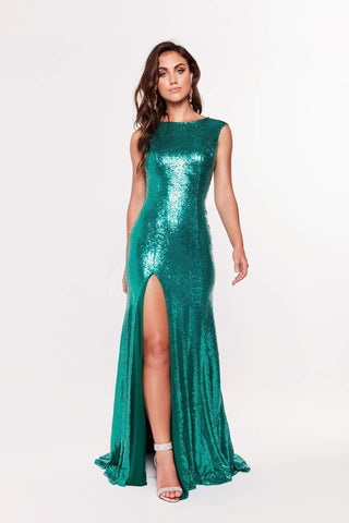 In stock - Lila Sequin Gown - Emerald