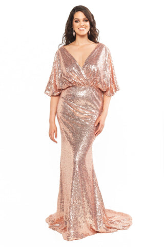 A&N Curve Lily - Rose Gold Open Back Sequin Gown with Cape Sleeves