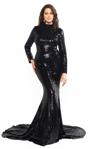 A&N Curve Liz - Black High Neck Sequins Gown with Long Sleeves