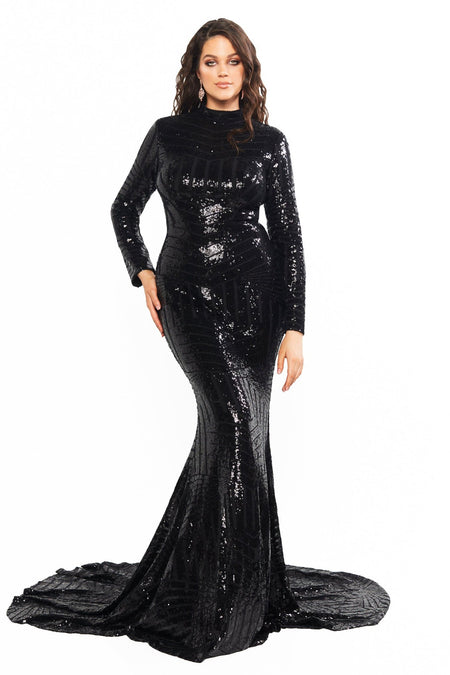 A&N Curve Renata Sequin Gown - Black