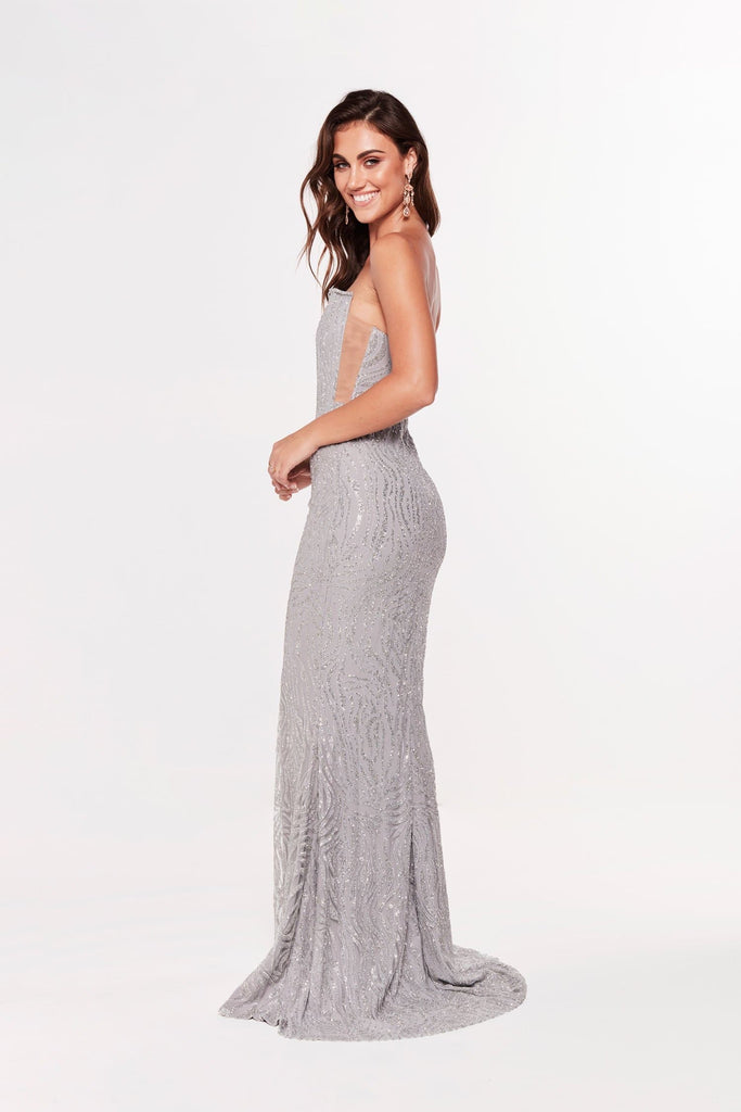 A&N Luxe Mina Glitter Mermaid Gown - Silver – A&N Boutique