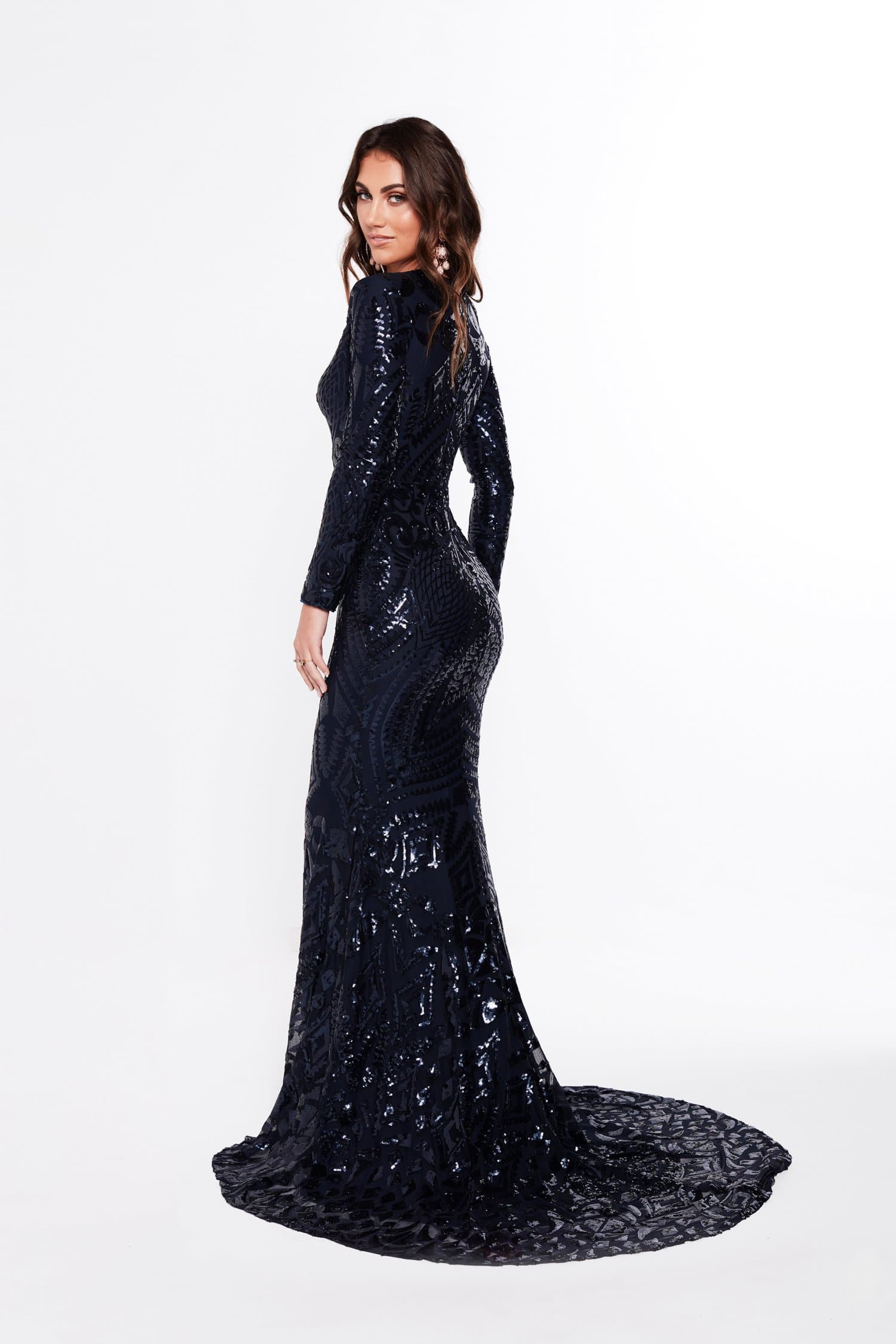 A&N Julieta - Navy Sequin Gown with Long Sleeves and Mermaid Train