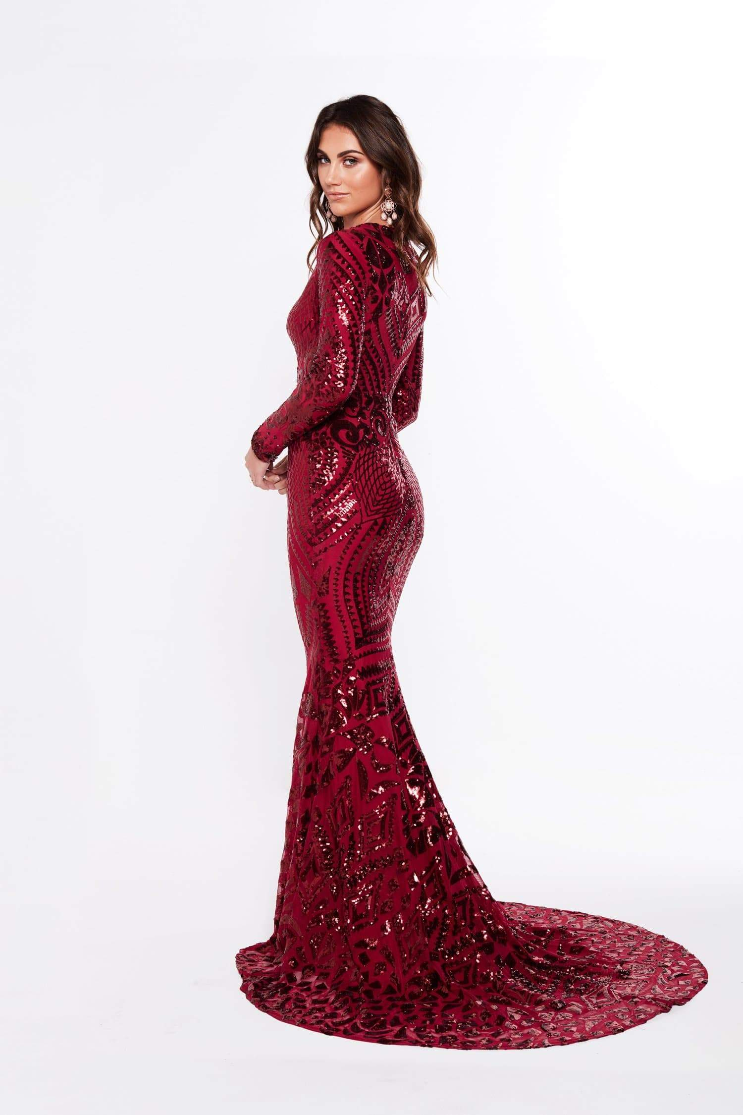 A&N Julieta - Burgundy Sequin Gown with Long Sleeves and V Neckline