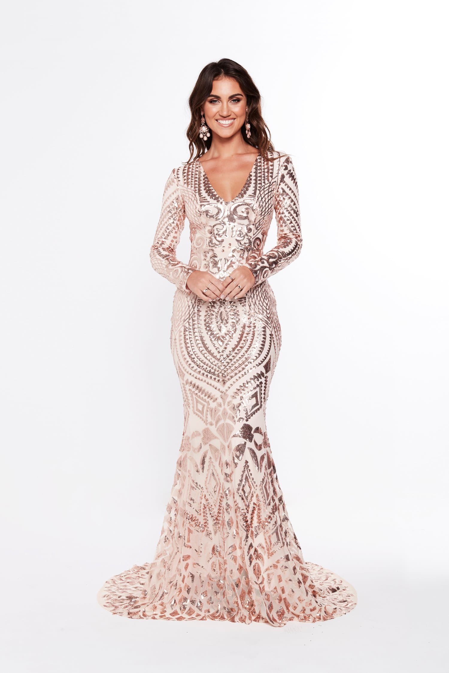 A&N Julieta - Rose Gold Sequin Gown with Long Sleeves