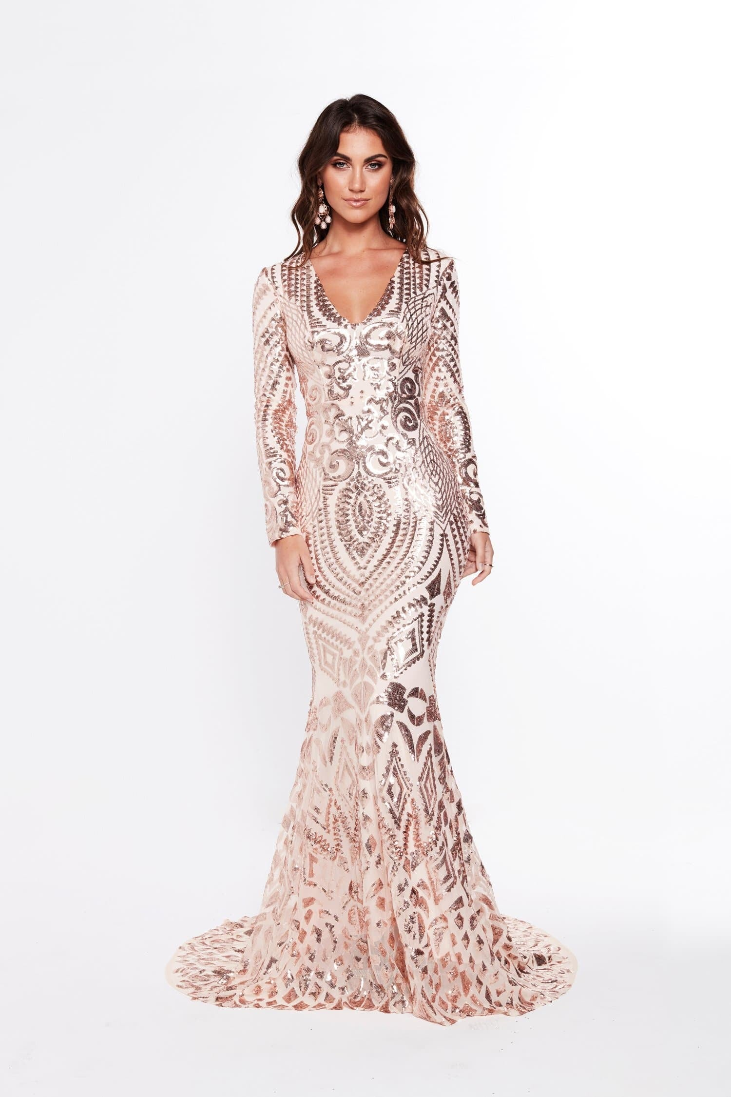 18d7b83c9a6457 A&N Julieta - Rose Gold Sequin Gown with Long Sleeves – A&N Luxe Label