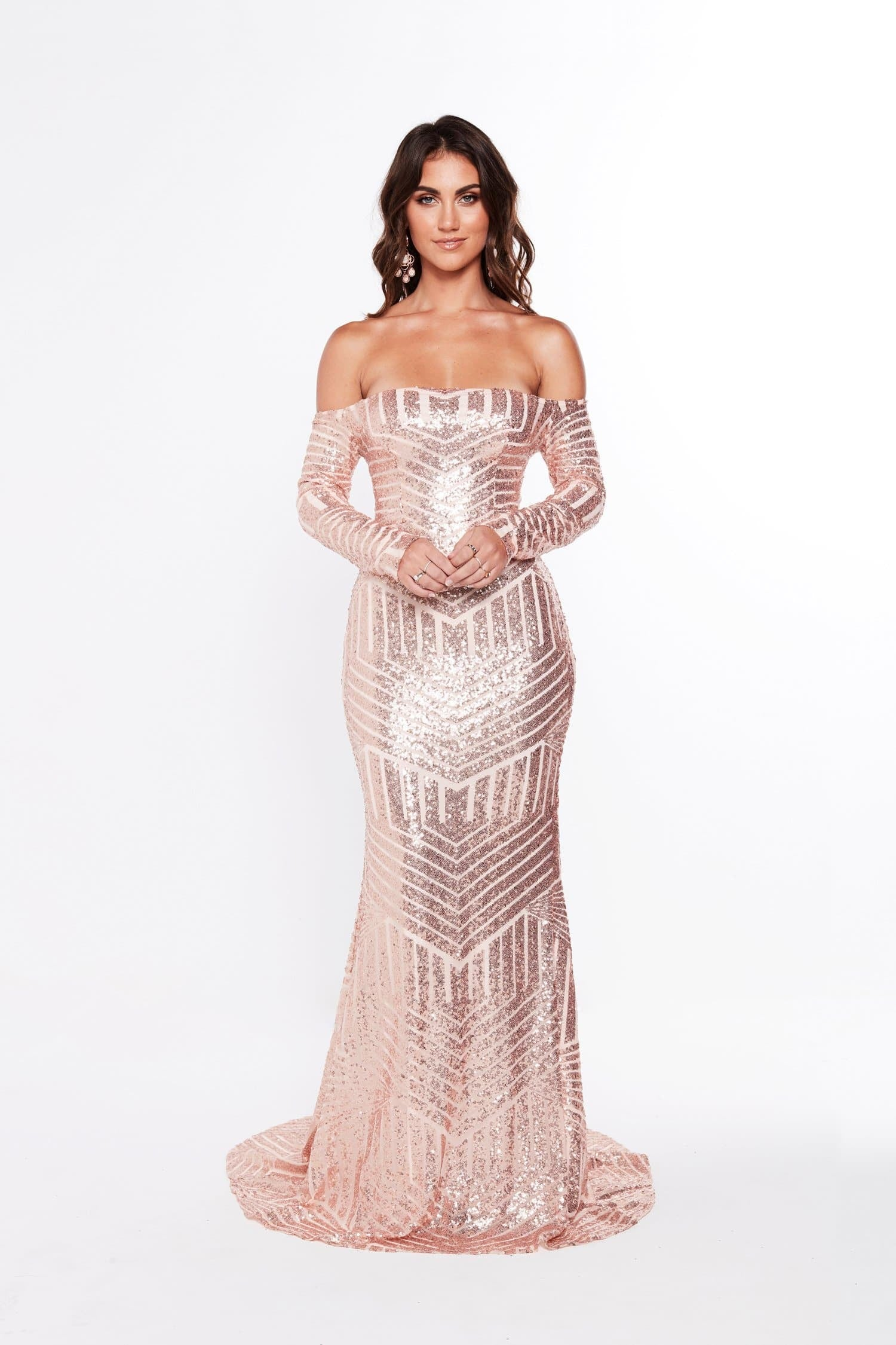 A&N Ariana - Long Sleeve Off the Shoulder Sequin Gown in Rose Gold