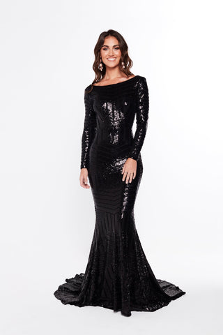 A&N Agustina - Black Sequins Gown with High Neckline and Low Back
