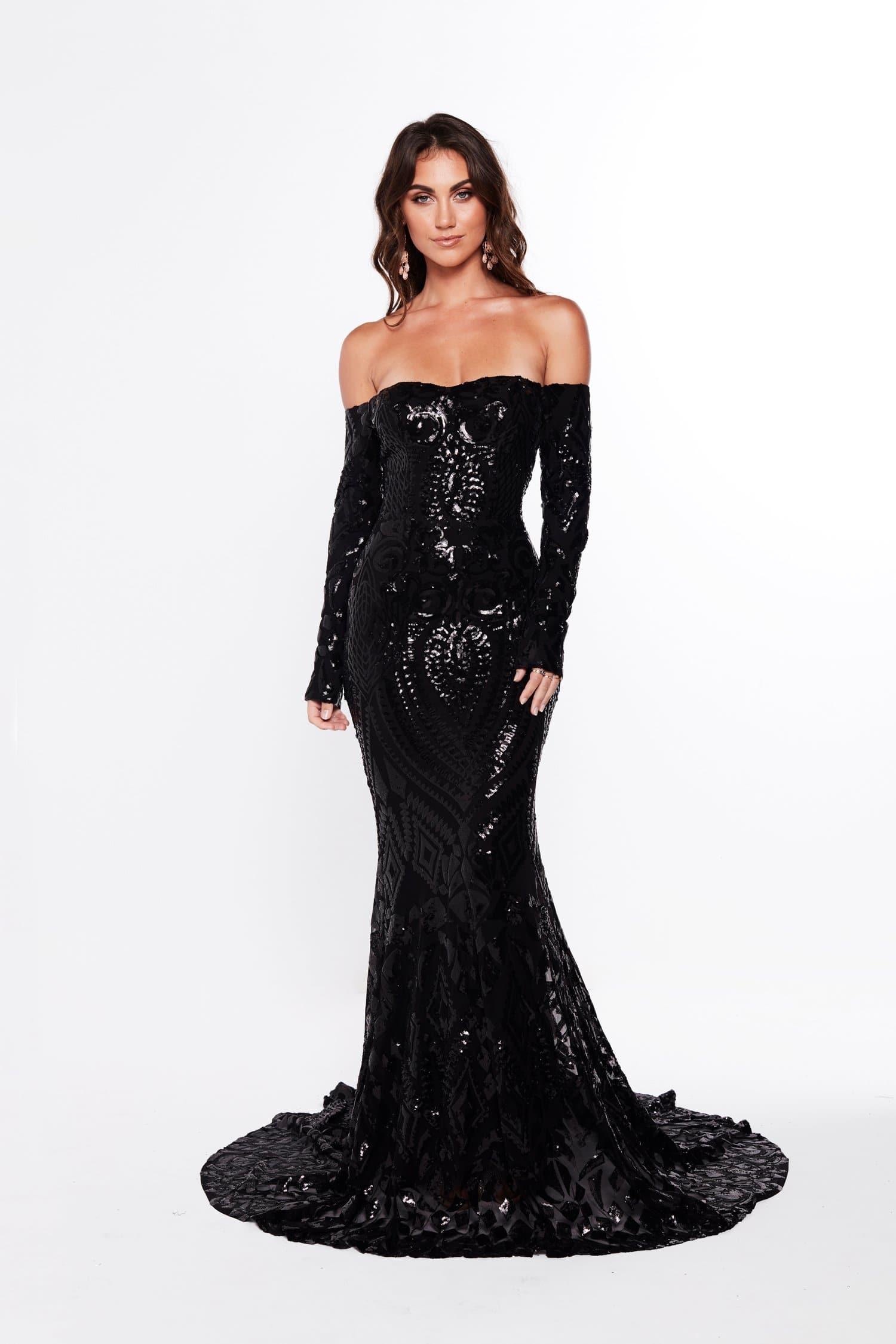 A&N Isidora - Black Sequin Gown with Long Sleeves and Mermaid Train ...