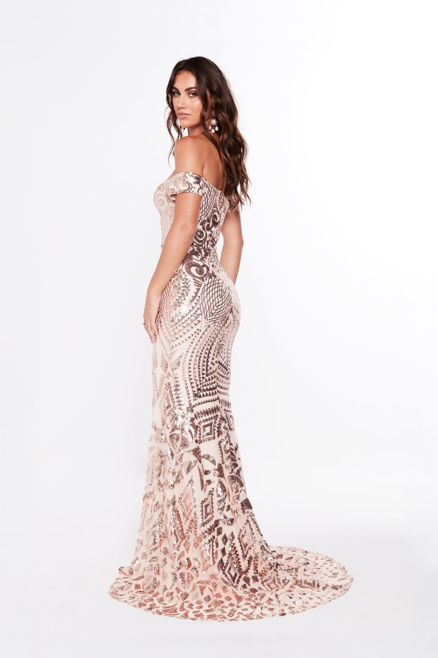 A&N Mia - Rose Gold Sequin Gown with Off-Shoulder Straps