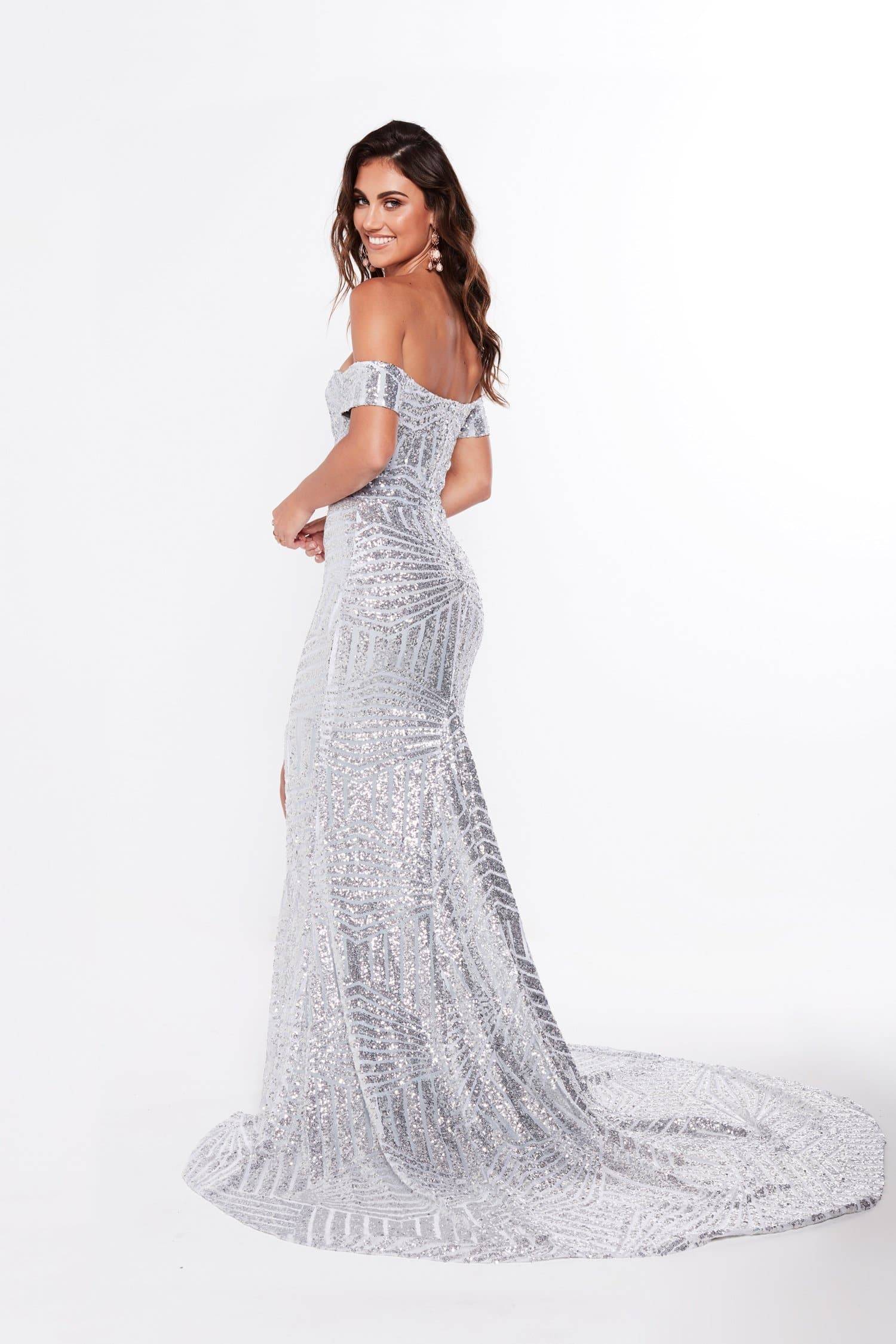 A&N Luxe Renata Off-Shoulder Gown - Silver