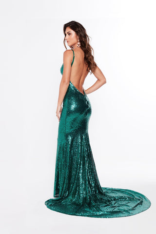 A&N Alejandra - Emerald Sequins Gown with Mermaid Train and Low Back