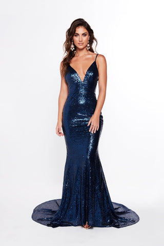 A&N Alejandra - Navy Blue Sequins Gown with Low Back and V-Neck
