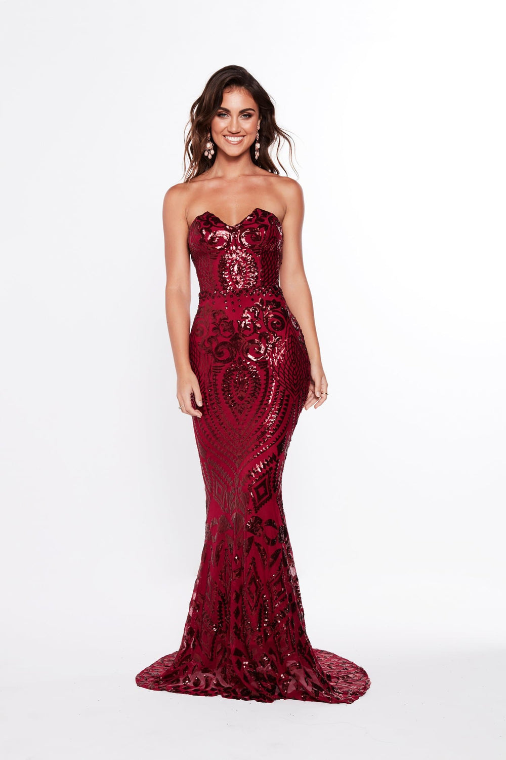 A&N Valery - Burgundy Sequin Gown with Mermaid Train