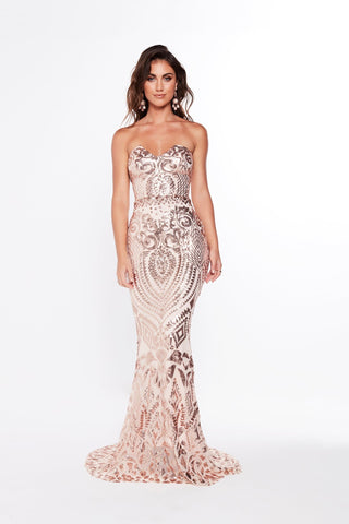 A&N Valery - Rose Gold Sequin Gown with Mermaid Train