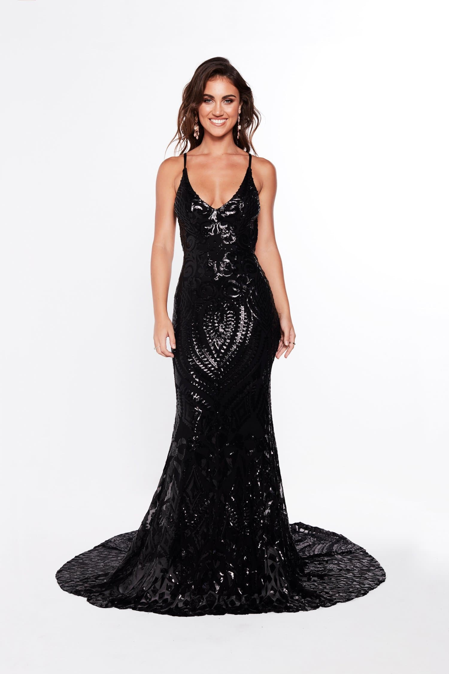 A&N Mariana - Black Sequin Gown with Low Back