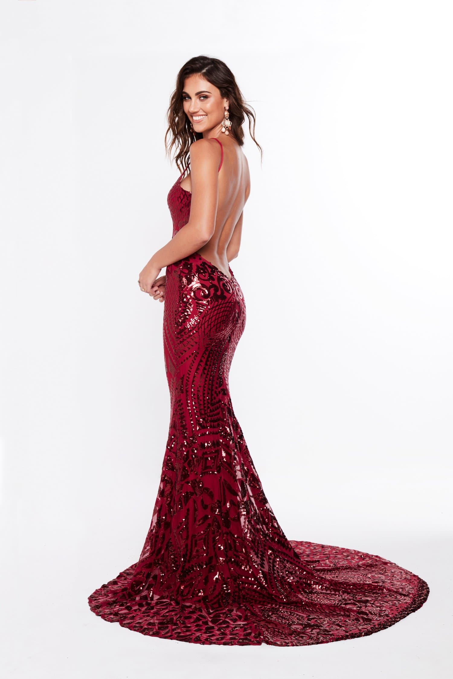 A&N Mariana - Burgundy Sequin Gown with Low Back