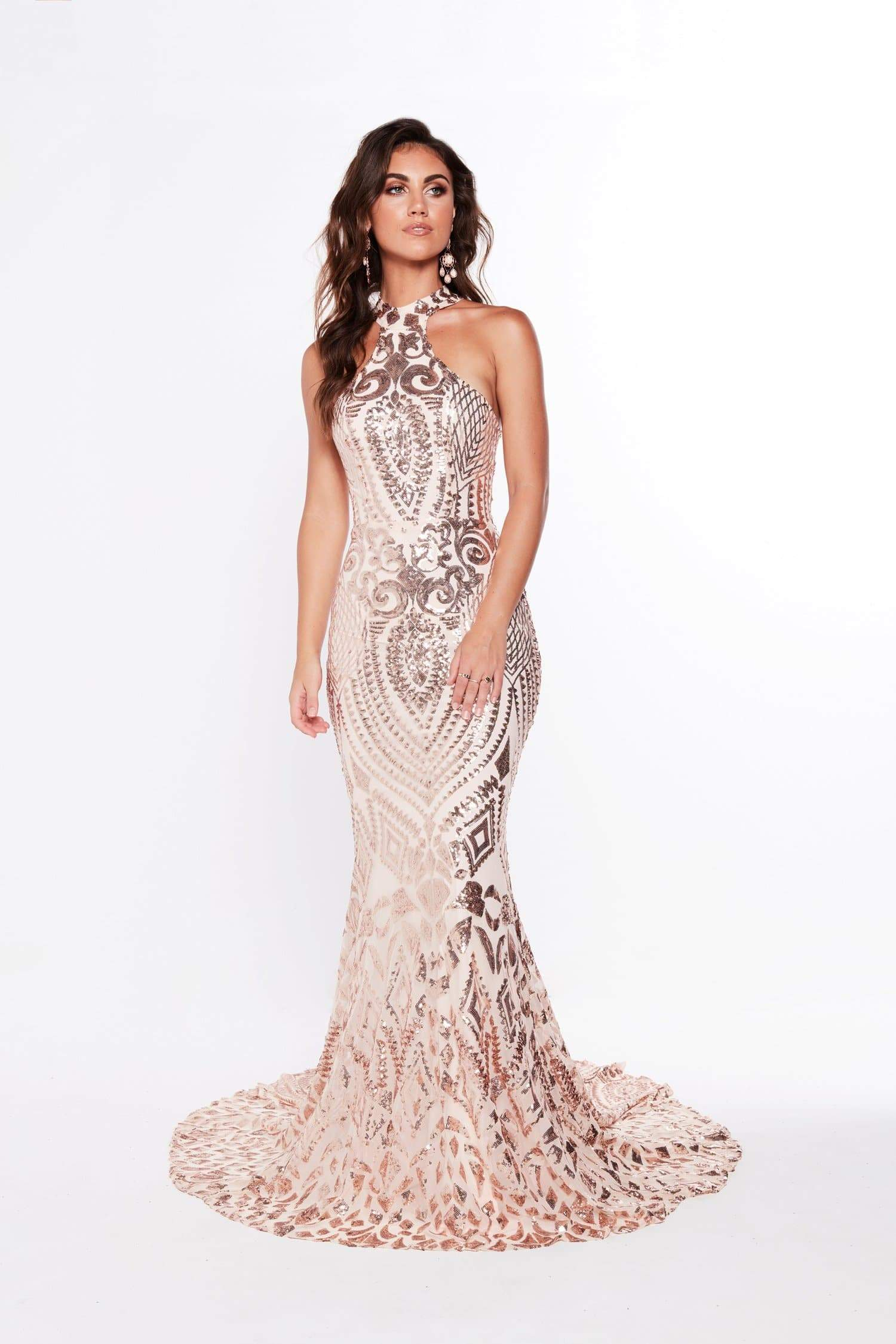 A&N Fabiana - Rose Gold Sequin Gown with High Neckline – A&N Boutique