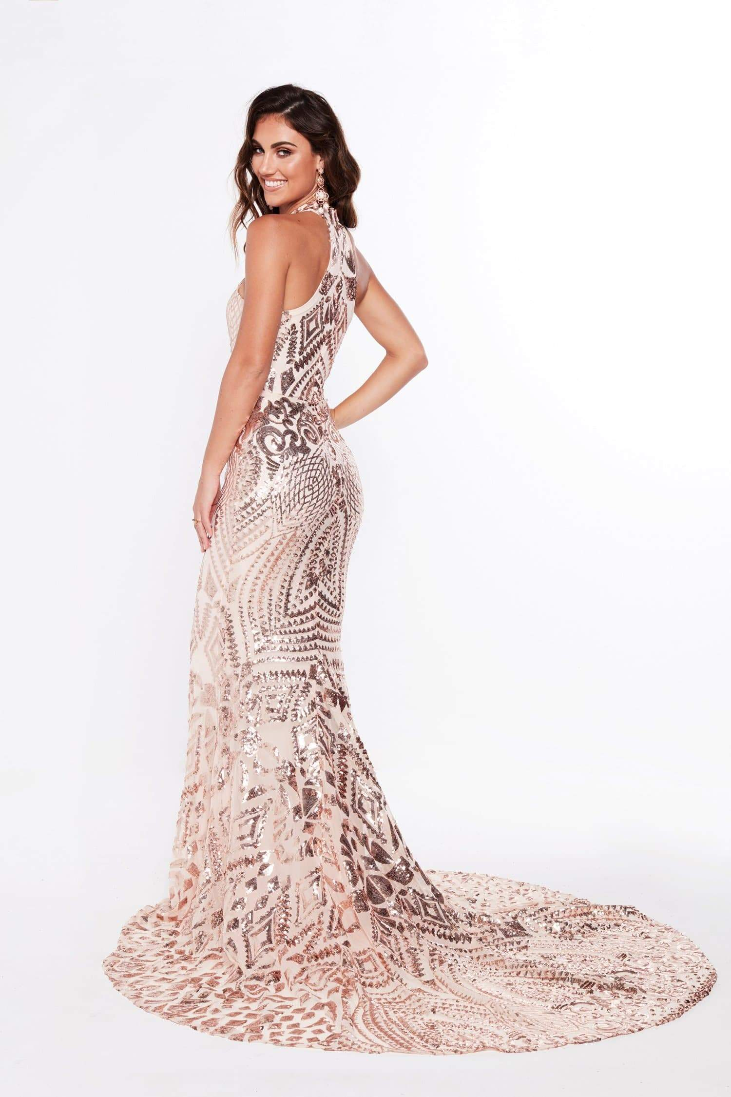 A&N Fabiana - Rose Gold Sequin Gown with High Neckline
