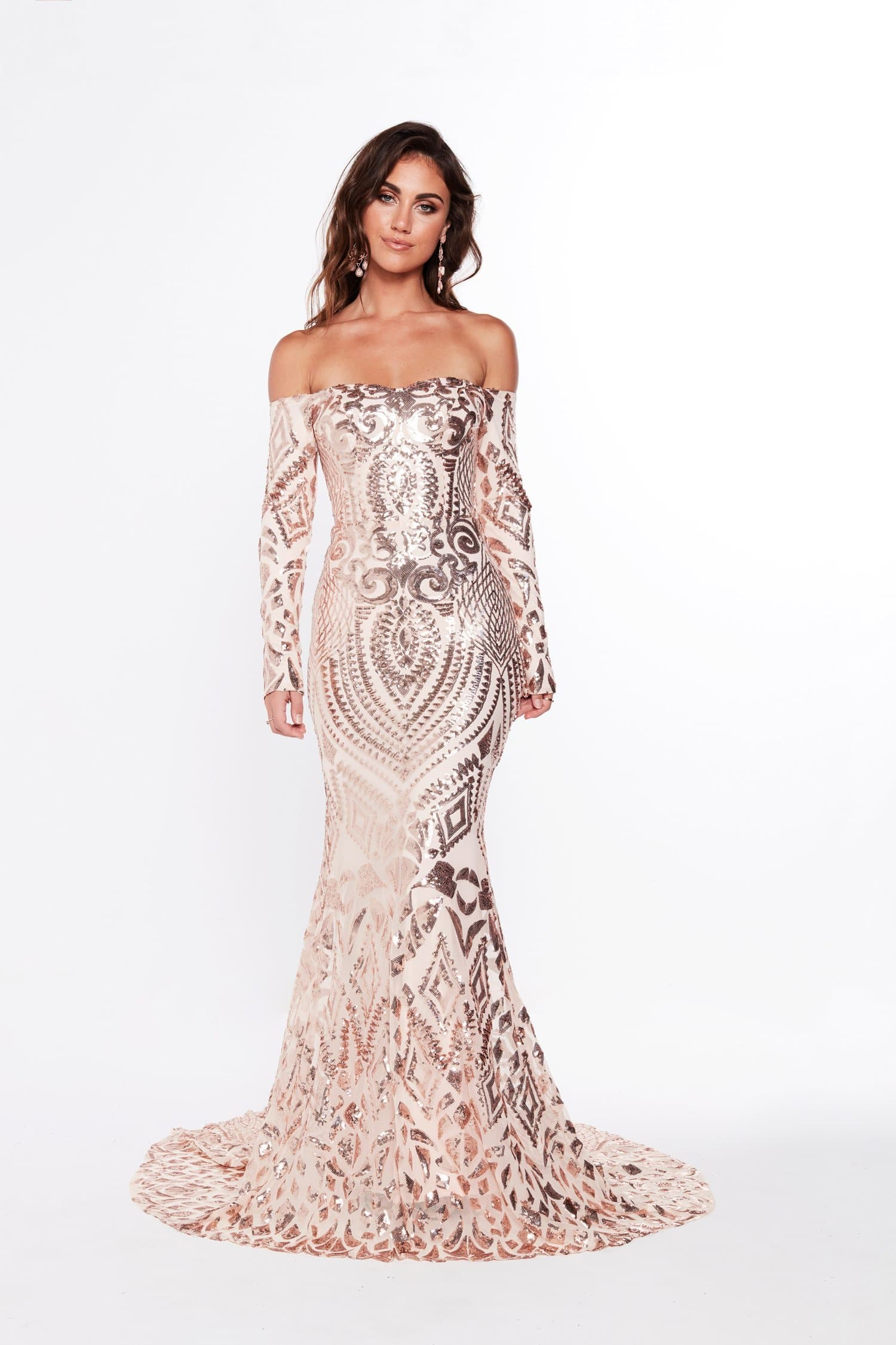 A&N Isidora - Rose Gold Sequin Gown with Long Sleeves & Mermaid Train