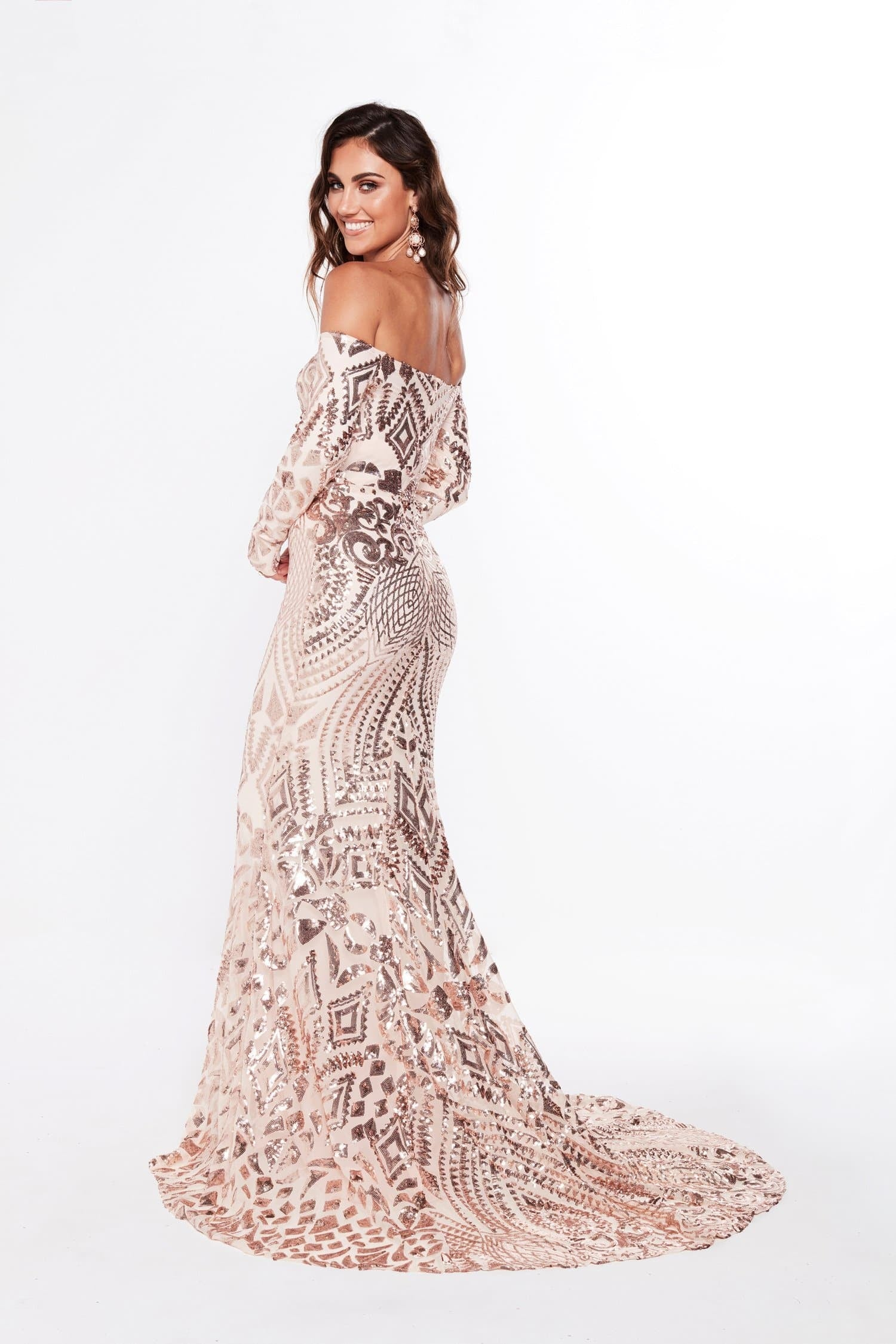 A&N Luxe Isidora Sequins Gown - Rose Gold