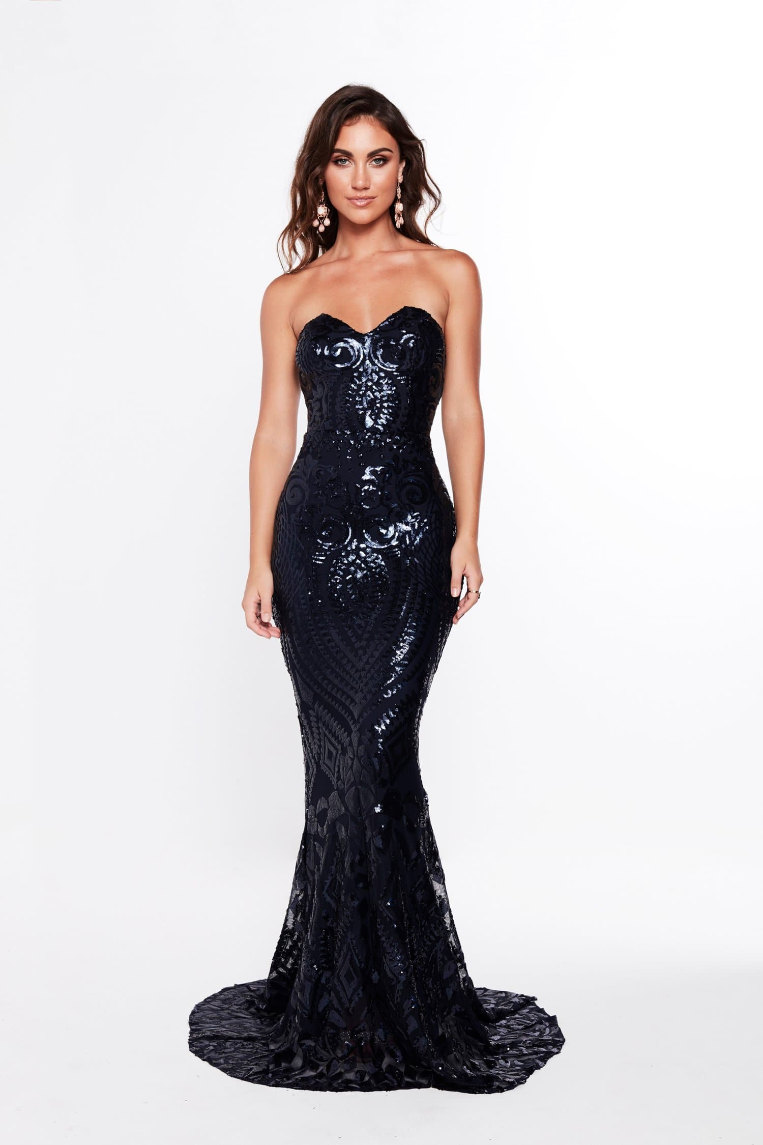 A&N Valery - Navy Sequin Gown with Mermaid Train