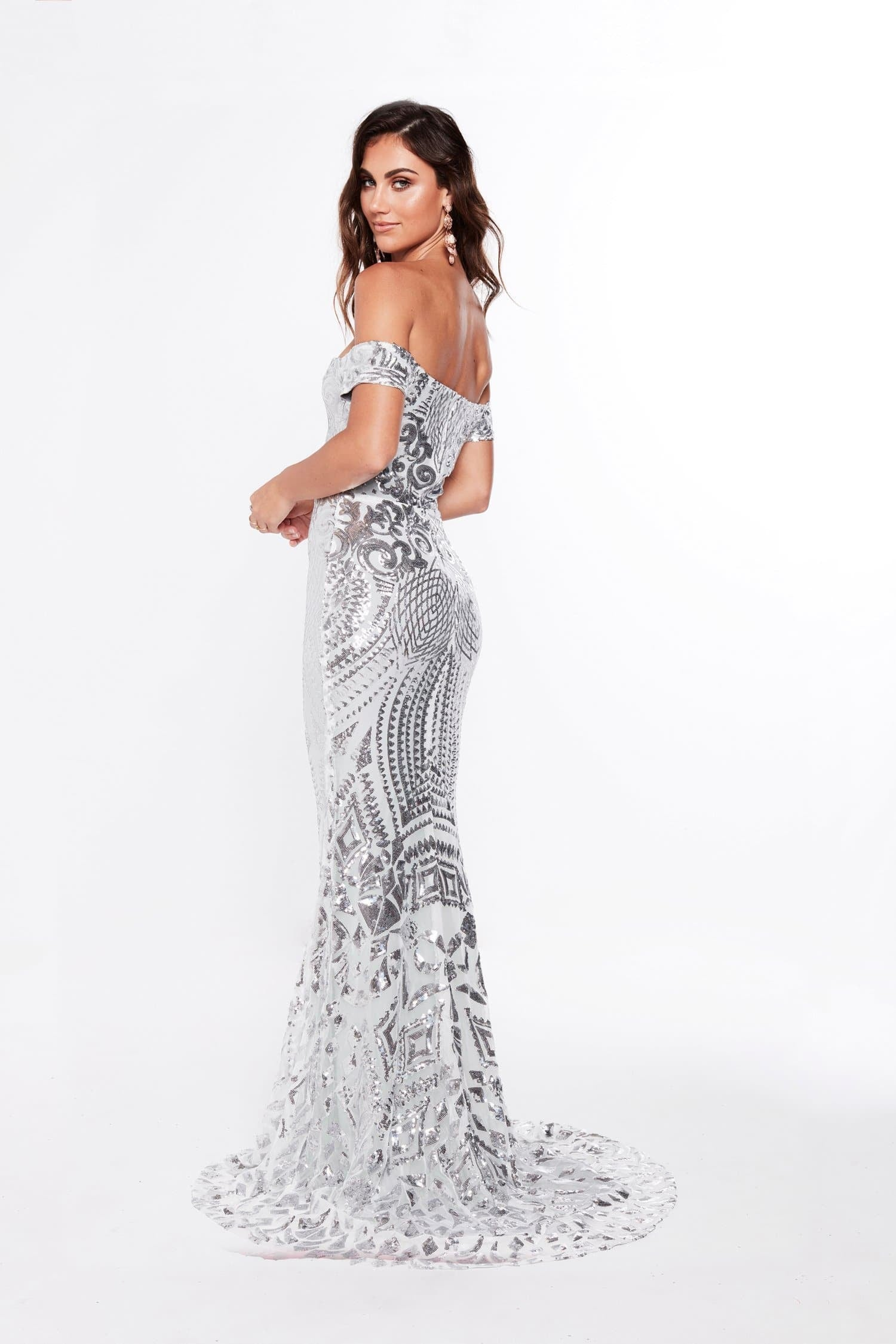 A&N Luxe Mia Off-Shoulder Gown - Silver