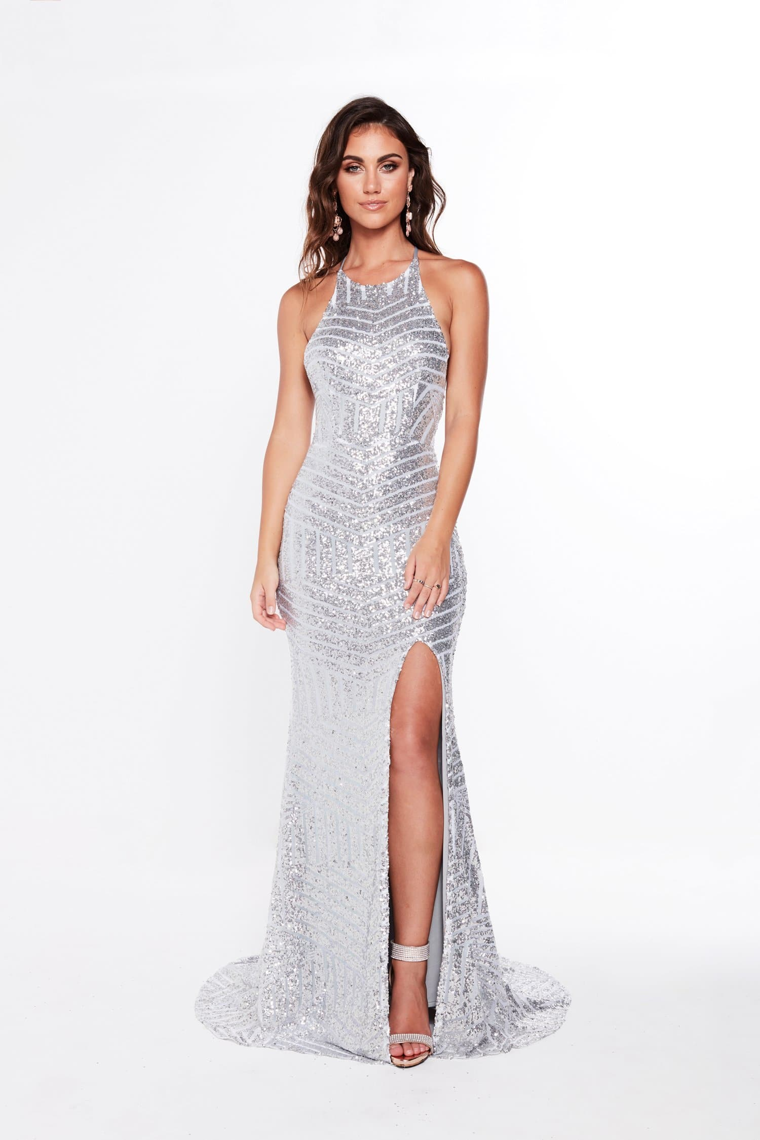 A&N Cosmo - Silver Sequins Gown with High Neckline and Lace Up ...