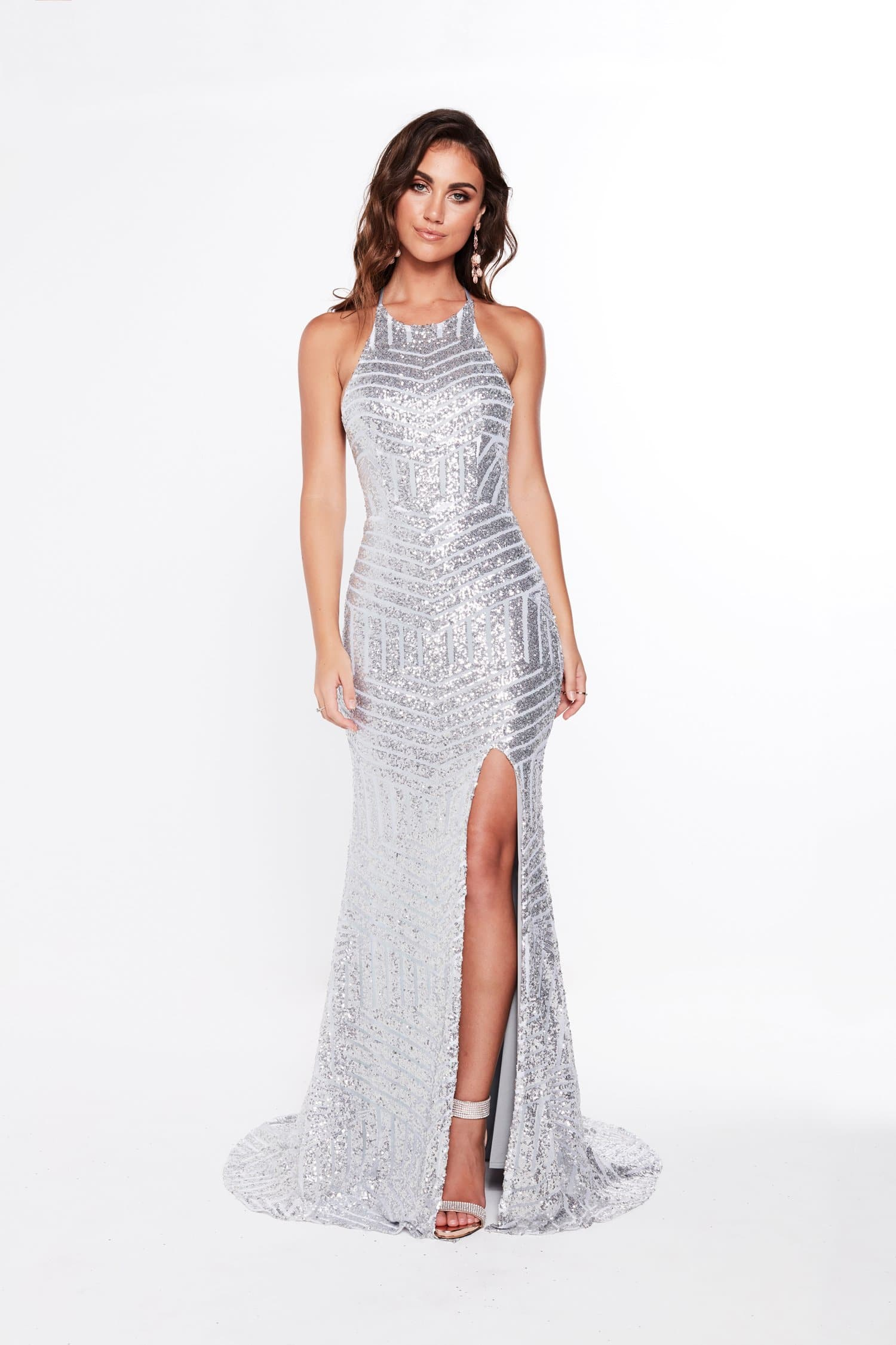 A&N Cosmo - Silver Sequins Gown with High Neckline and Lace Up Straps