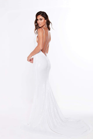 A&N Alejandra - White Sequins Gown with Low Back and V-Neck