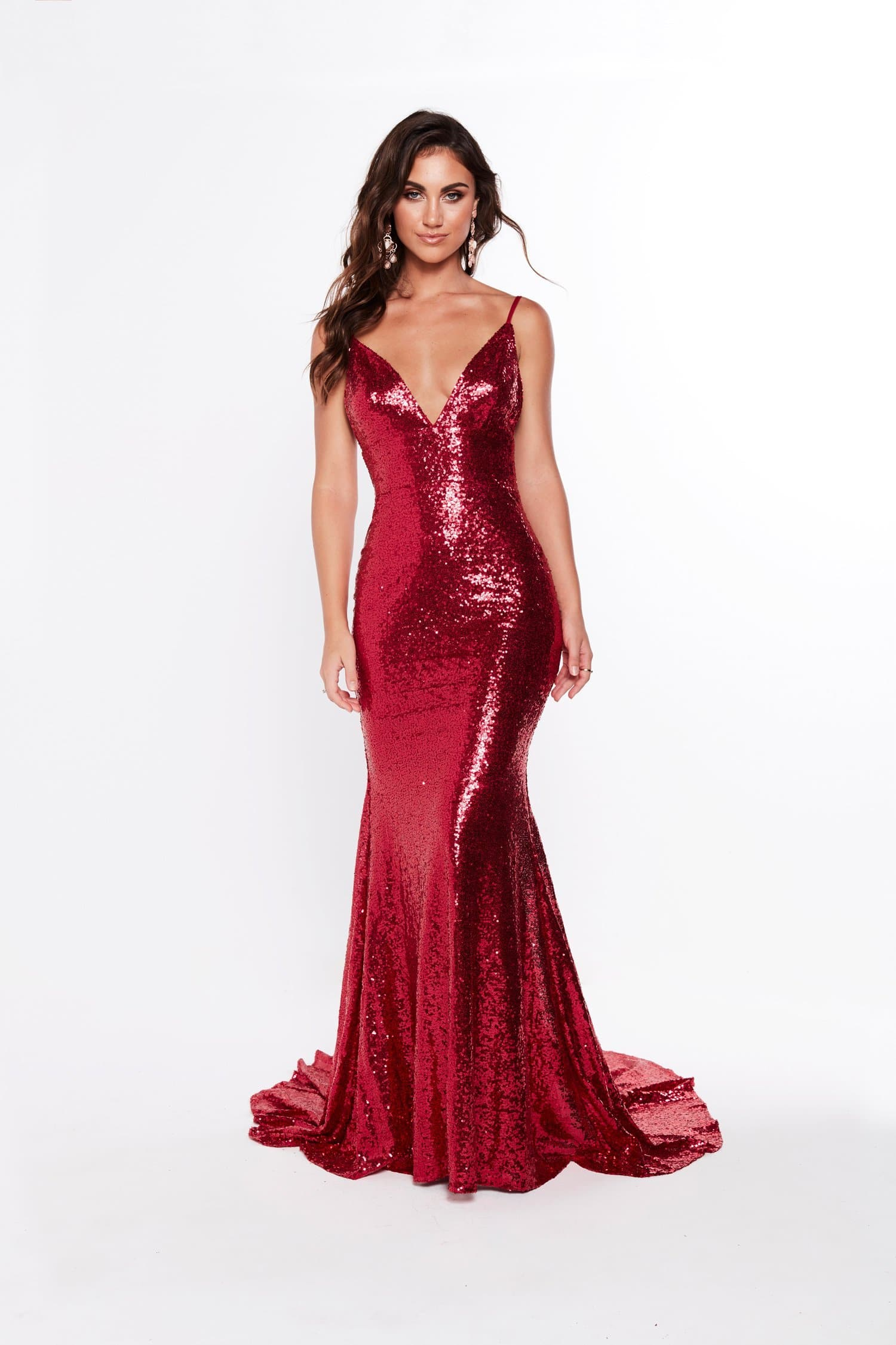 A&N Luxe Alejandra Sequin Gown - Deep Red