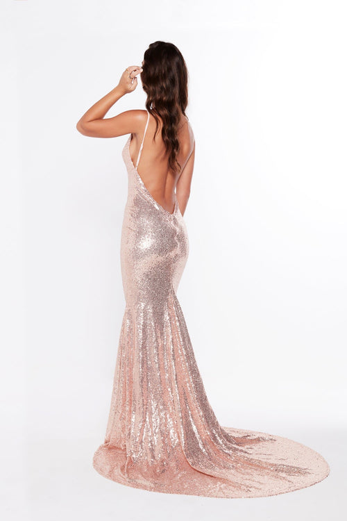 A&N Luxe Alejandra Sequins Gown - Rose Gold