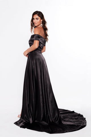 A&N Valeria - Black Strapless Satin Gown with Side Slit