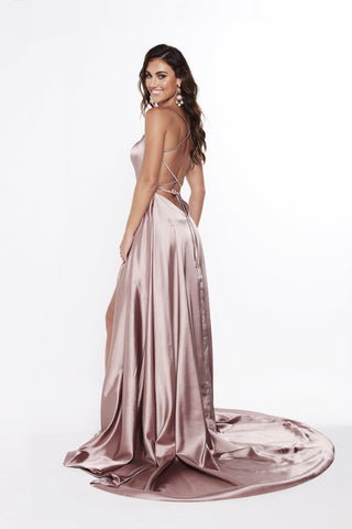 A&N Bianca - Mauve Satin Gown with Hidden Slit and Lace Up Back