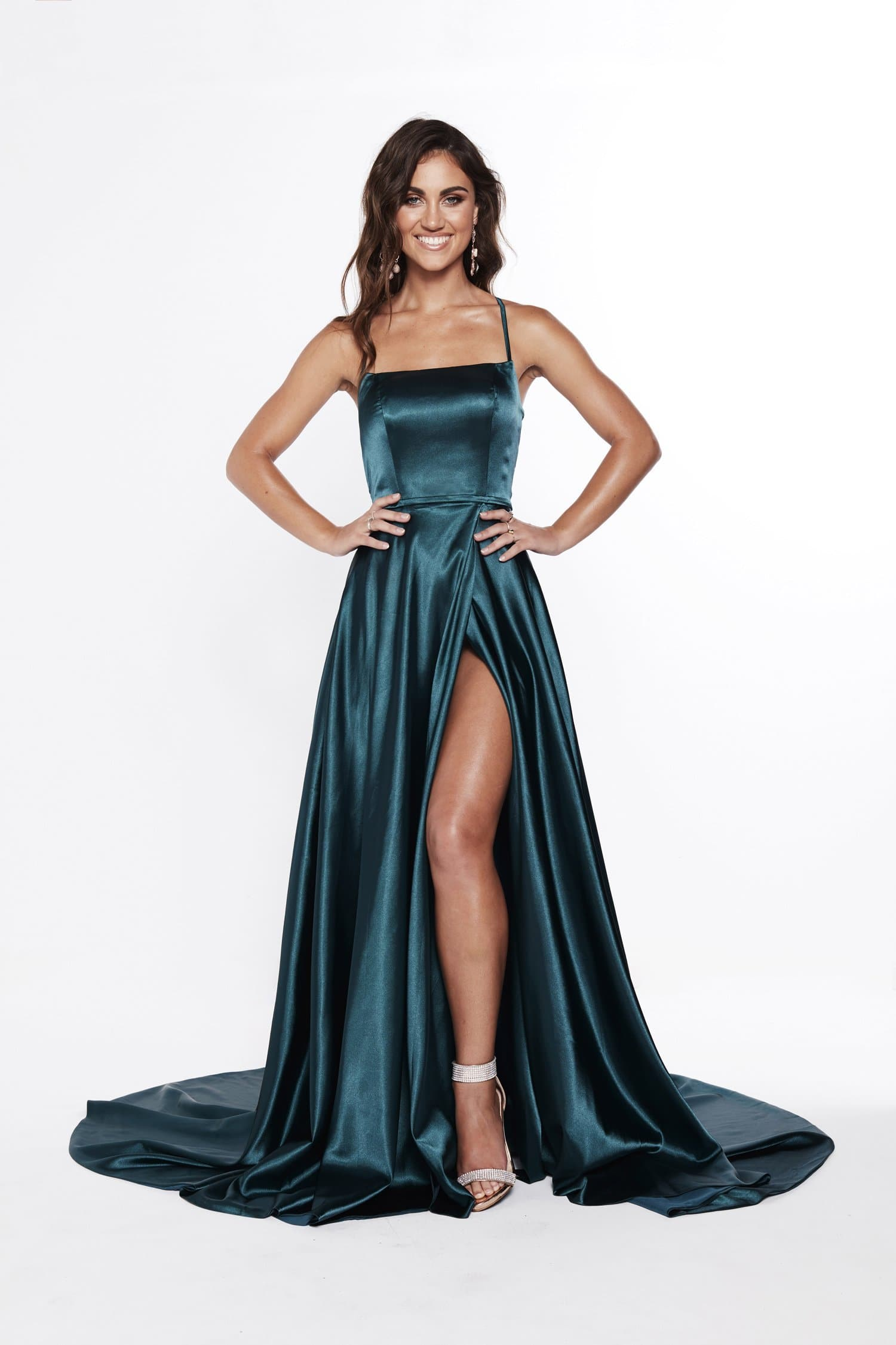 A&N Bianca - Teal Satin Gown with Front Slit and Lace up Back